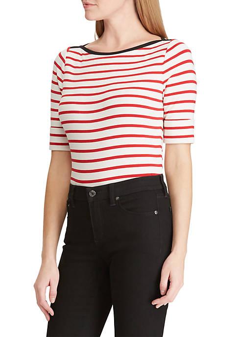Striped Stretch Cotton Boat Neck Top