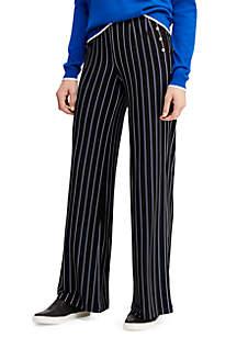 Button-Trim Jersey Pants