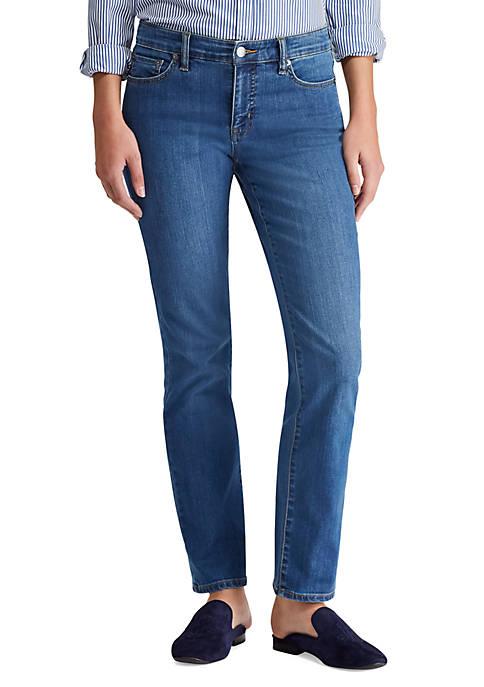 Lauren Ralph Lauren Light-Wash Modern Straight Curvy Jean