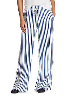 Striped Drawcord Twill Pants