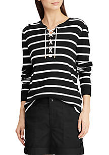 Striped Lace-Up Cotton Top
