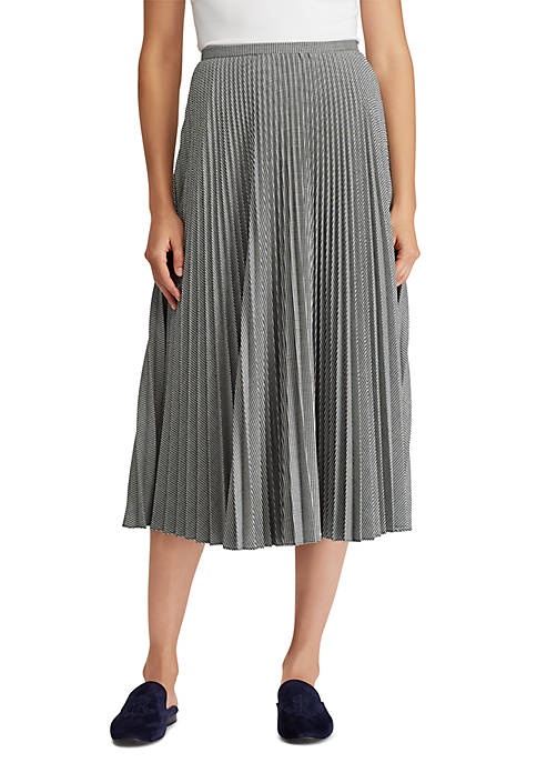 Lauren Ralph Lauren Pleated Twill A-Line Skirt