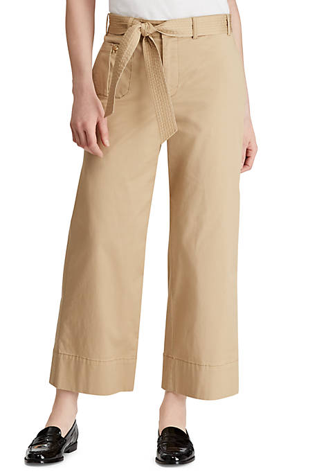 Belted Twill Wide-Leg Pant