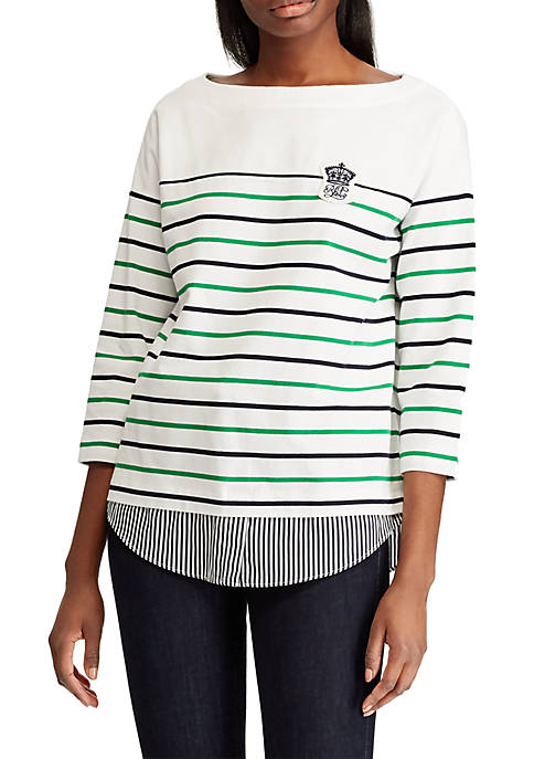 Lauren Ralph Lauren Logo Patch Striped Jersey Top