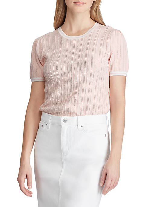 Lauren Ralph Lauren Rib Knit Short Sleeve Sweater