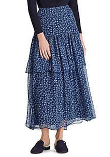 Lauren Ralph Lauren Print Georgette Tiered Skirt