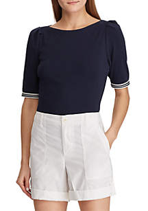 Lauren Ralph Lauren Ribbon-Sleeve Boatneck Top