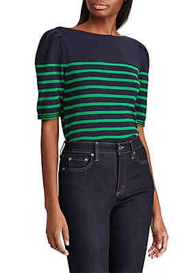 b02a4bd5603ca Lauren Ralph Lauren Puffed Elbow-Sleeve Stretch Cotton Top ...