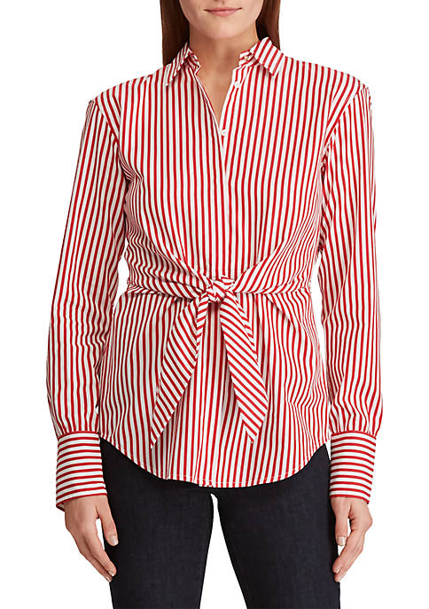 Striped Tie-Front Cotton Shirt