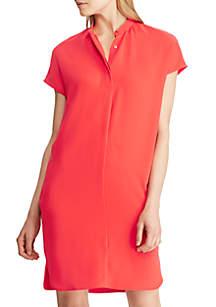 Lauren Ralph Lauren Band-Collar Crepe Dress