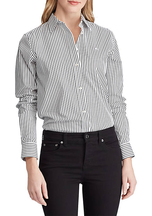Embroidered Striped Button-Down Shirt