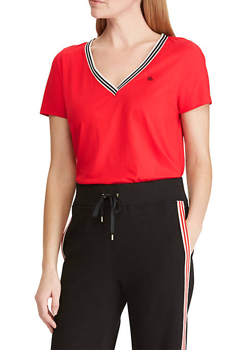 Lauren Ralph Lauren Stripe Trim Cotton Blend Tee