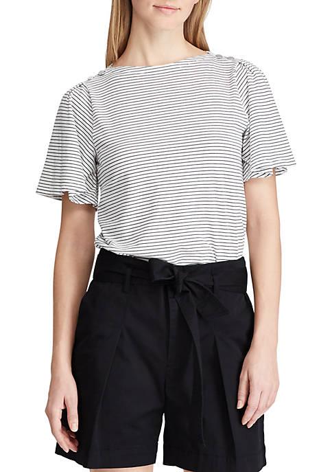 Lauren Ralph Lauren Jersey Flutter Sleeve Top