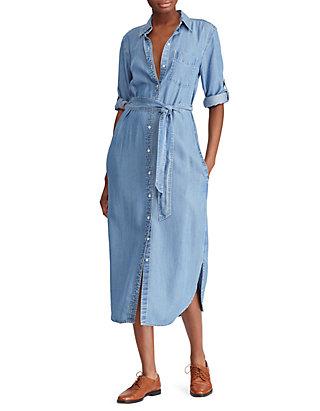 shop best sellers top quality in stock Lauren Ralph Lauren Denim Shirtdress | belk