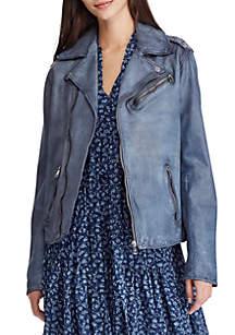 Lauren Ralph Lauren Burnished Leather Jacket