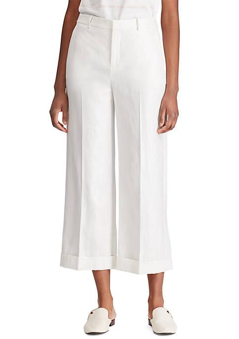 Lauren Ralph Lauren Linen Blend Wide Leg Pants