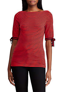 Ribbon-Sleeve Striped Boatneck Top