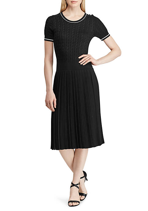Cable Pleated Sweater Dress