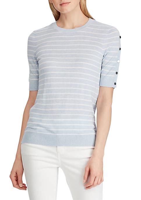 Lauren Ralph Lauren Buttoned Cotton Blend Sweater