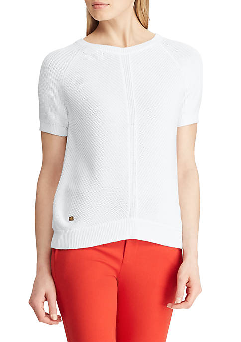 Cotton-Blend Short-Sleeve Sweater