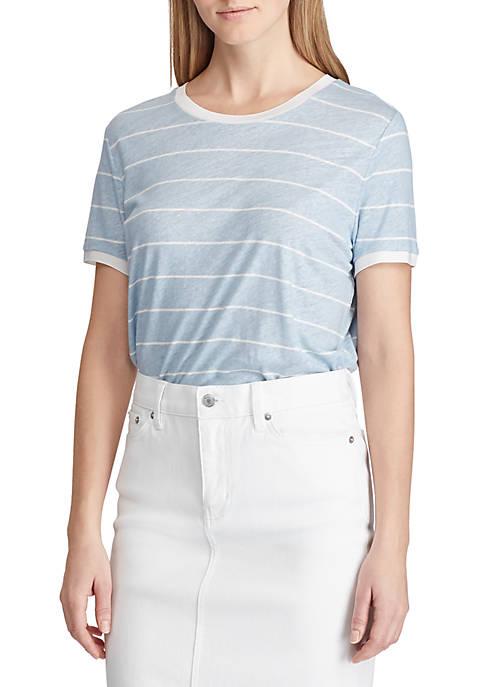Lauren Ralph Lauren Striped Linen Blend Tee