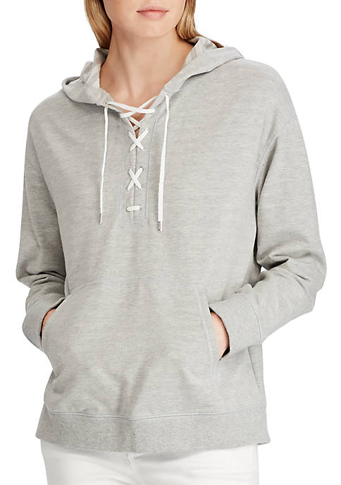 Lace Up French Terry Hoodie