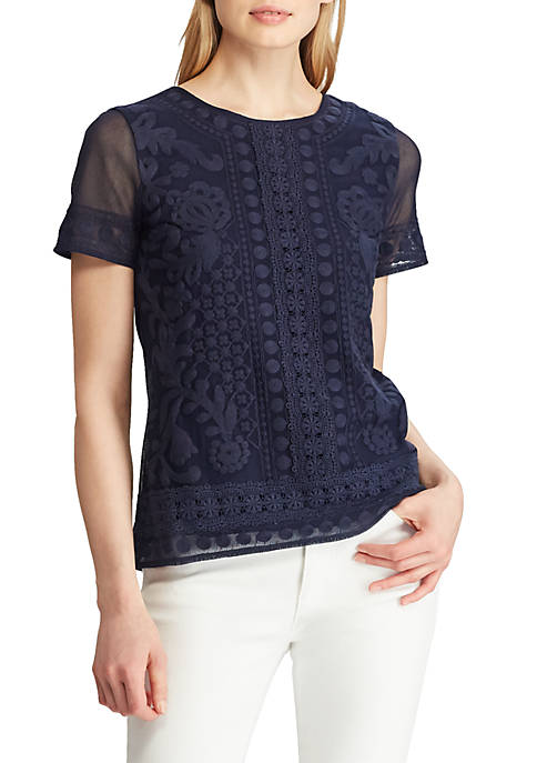 Lace-Trim Short-Sleeve Top