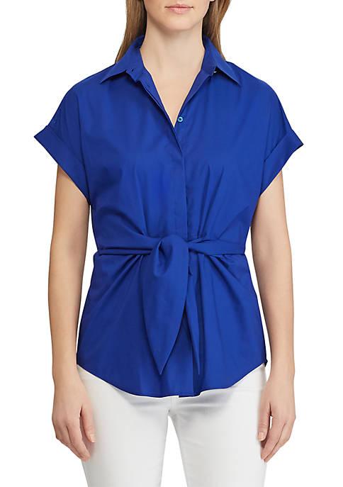 Tie-Front Cotton-Blend Shirt
