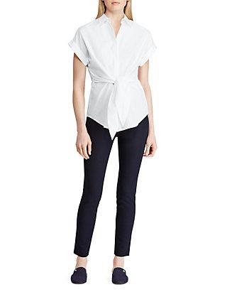 4d21267608d Lauren Ralph Lauren Tie Front Cotton Shirt | belk