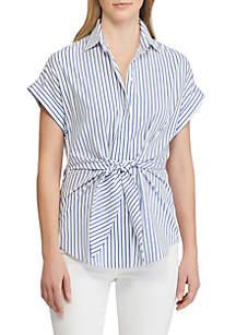 Lauren Ralph Lauren Striped Tie Front Cotton Shirt