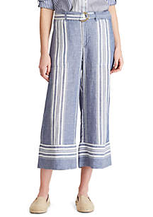Lauren Ralph Lauren Striped Linen Wide Leg Pants