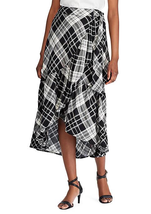 Lauren Ralph Lauren Plaid Ruffled Linen Blend Skirt