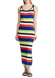 Lauren Ralph Lauren Striped Ribbed Cotton Dress