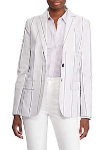 Lauren Ralph Lauren Striped Canvas Blazer