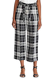 Lauren Ralph Lauren Plaid Linen Blend Wide Leg Pants