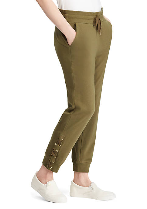 Lauren Ralph Lauren Lace Up Cotton Jogger Pants
