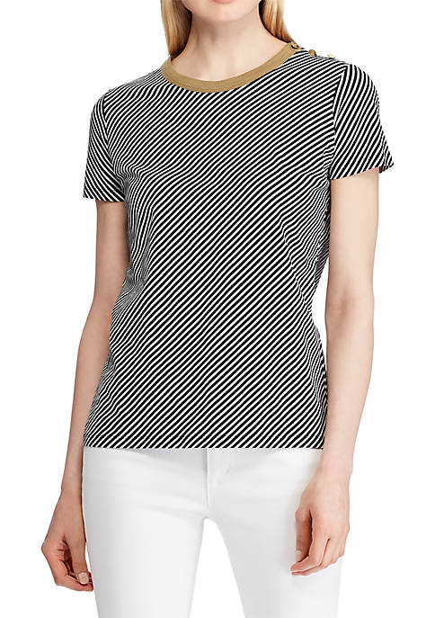 Lauren Ralph Lauren Button Shoulder Striped Tee
