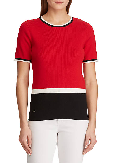 Lauren Ralph Lauren Color-Blocked Cotton-Blend Top