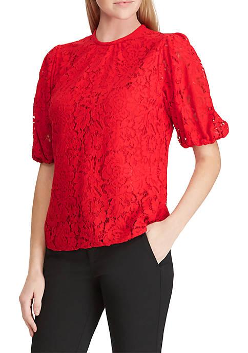 Lauren Ralph Lauren Lace Puff-Sleeve Top