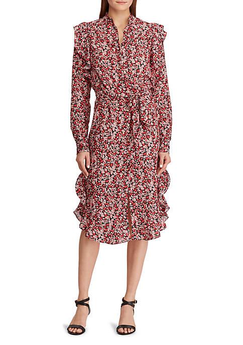 Lauren Ralph Lauren Floral Ruffled Crepe Dress