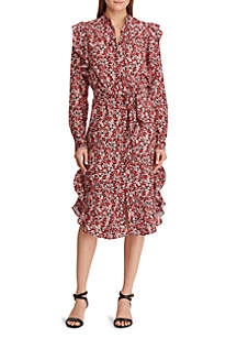 Lauren Ralph Lauren Floral Ruffled Crepe Dress