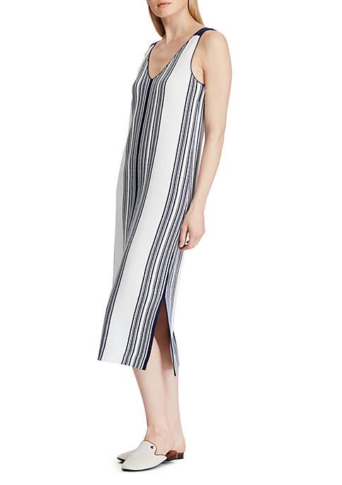 Striped Linen Blend Midi Dress