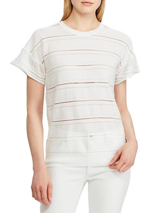 Lauren Ralph Lauren Striped Lace Tee