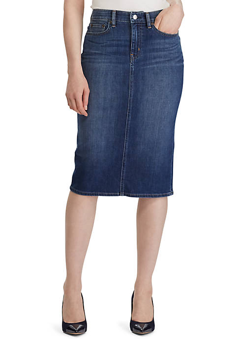 Lauren Ralph Lauren Curvy Sculpt Denim Skirt
