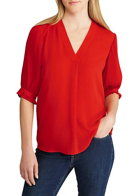 Lauren Ralph Lauren Pleated Sleeve Georgette Top Belk