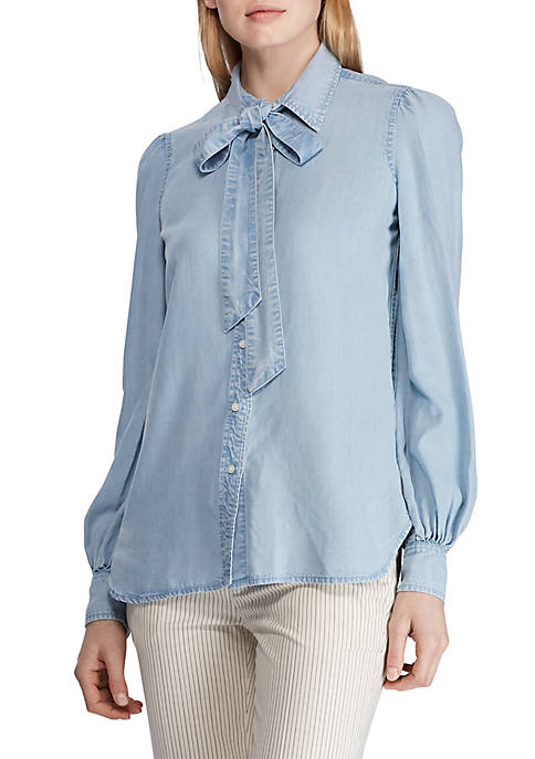 Lauren Ralph Lauren Chambray Tie Neck Shirt