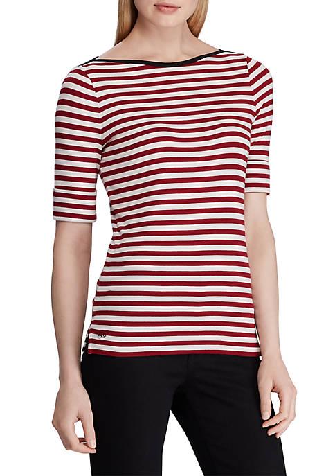 Lauren Ralph Lauren Lila Elbow Sleeve Stripe Knit