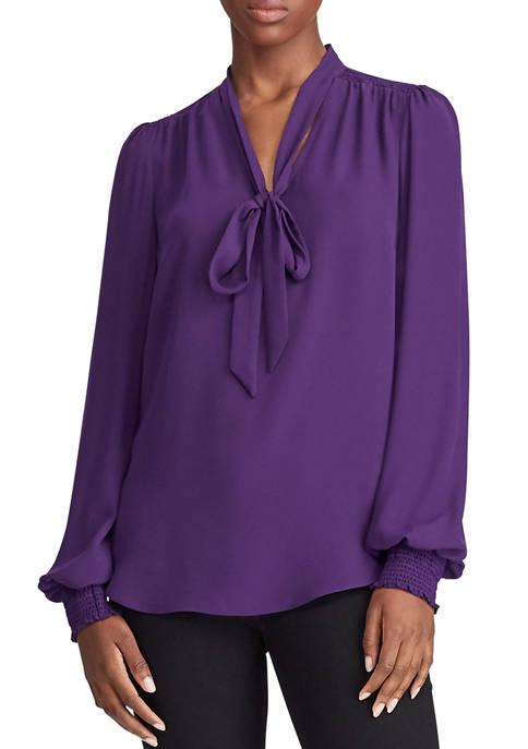 Lauren Ralph Lauren Georgette Tie Neck Top