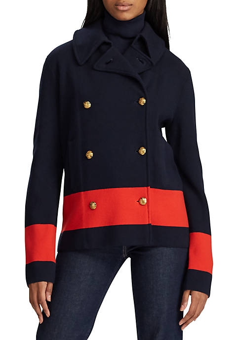 Lauren Ralph Lauren Color Blocked Cotton Peacoat