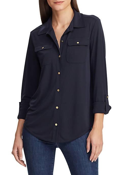 Lauren Ralph Lauren Knit Roll Tab Sleeve Shirt